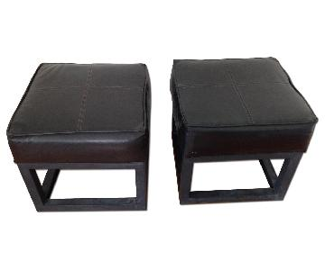 Black Faux Leather Ottoman Cube