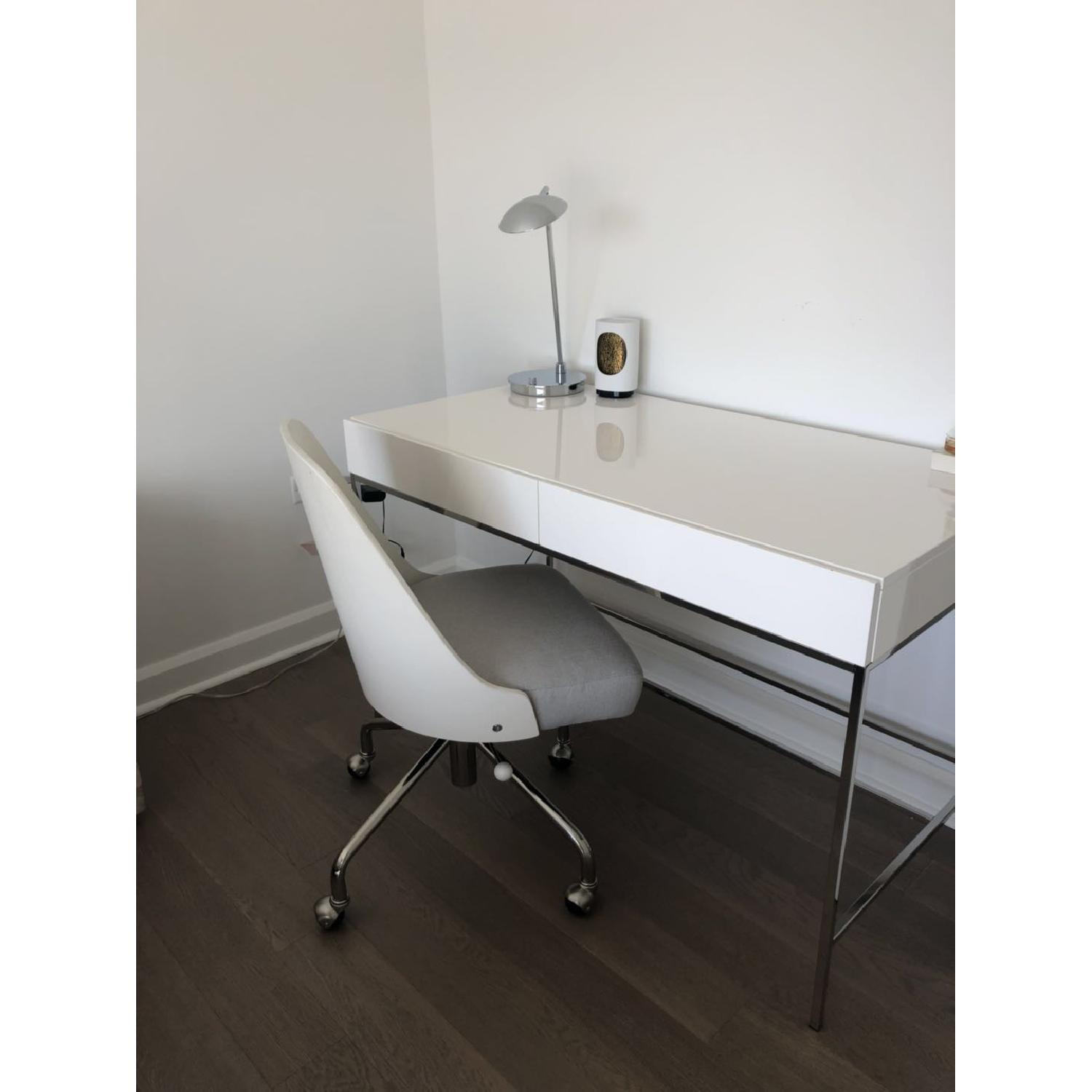 ... West Elm Modern White Office Desk W/ 2 Drawers 1 ...