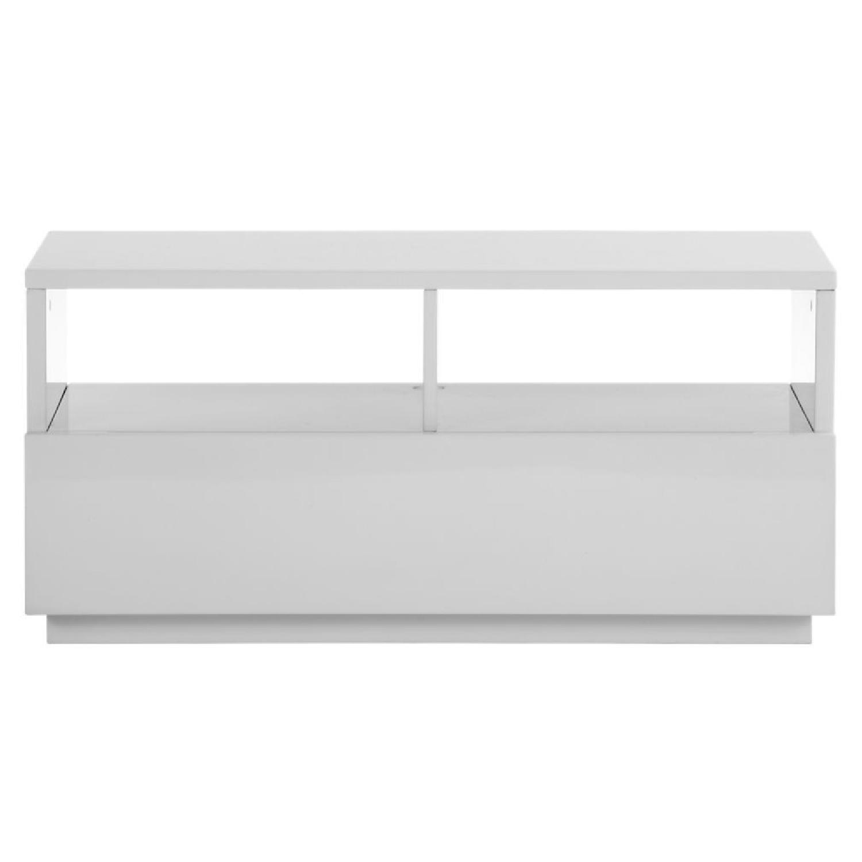 CB Chill White Mini Media Console AptDeco - Cb2 sofa table