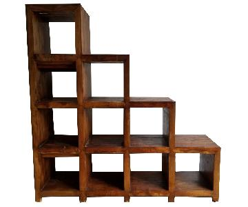 Solid Wood 10 Cubby Stair Shelving Unit