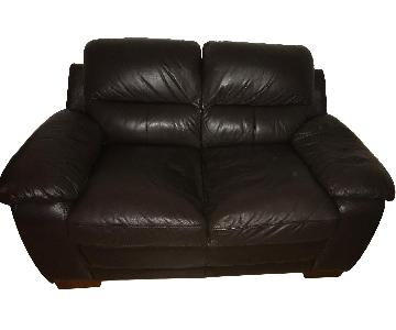 Raymour & Flanigan Brown Leather Loveseat