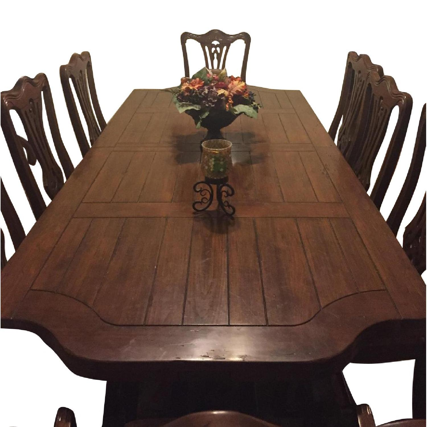 Wood Dining Table w/ 8 Chairs