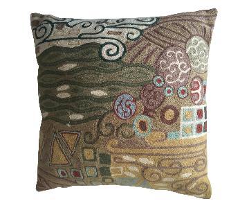 J&S International Kashmir Hand Made Chain-Stitch Pillow
