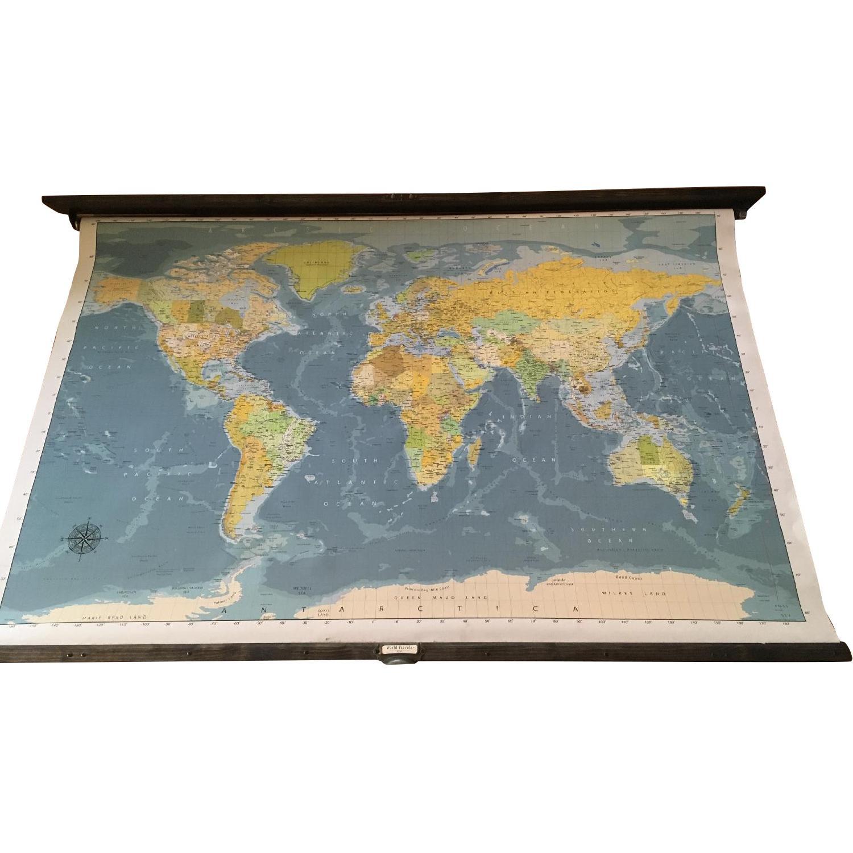 Grade School Style Pull Down World Map - AptDeco