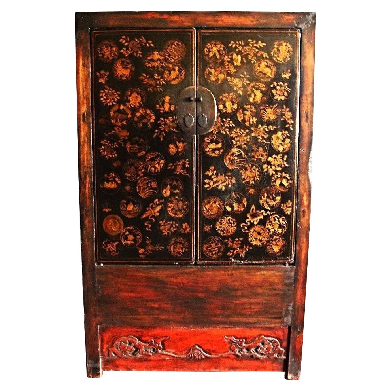 Vintage Early Lacquered Chinese Armoire/Cabinet