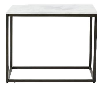 West Elm Box Frame Console in Marble/Antique Bronze