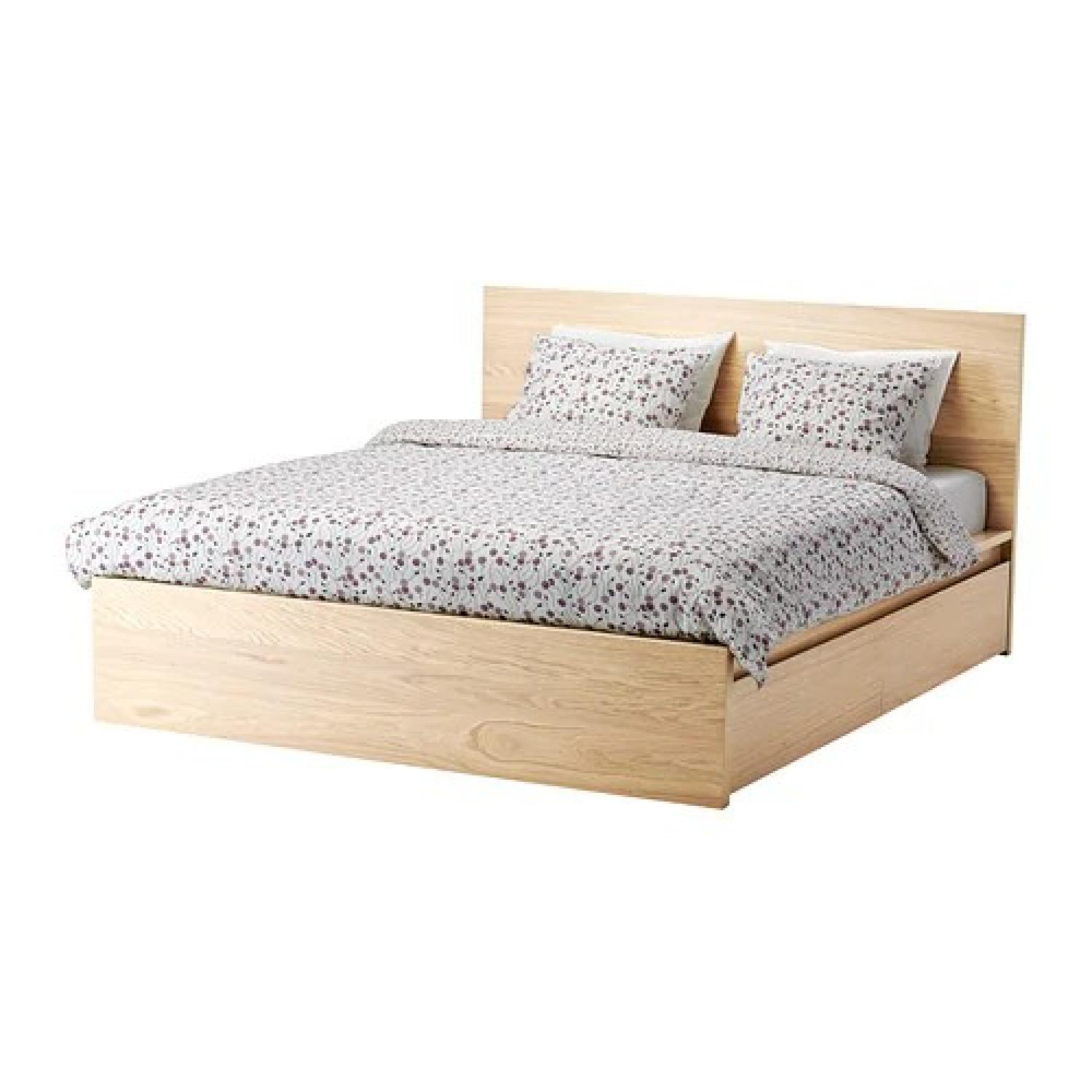Ikea Malm White Oak Full Bed W/ 2 Drawers ...