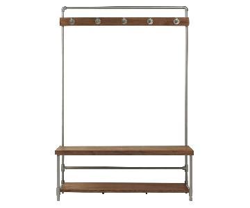 West Elm industrial Bench w/ Coat Rack