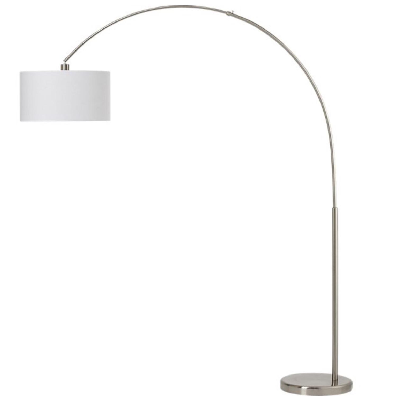 cb2 big dipper arc brushed nickel floor lamp aptdeco