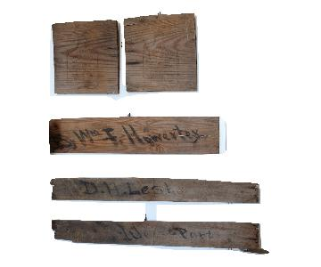 Antique Primitive Shipping Crate Signs Art