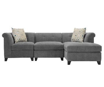 Raymour & Flanigan Corolla Gray 3 Piece Sectional Sofa