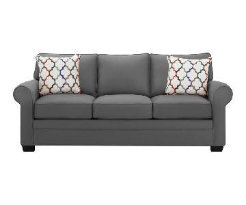 Raymour & Flanigan Glendora Grey Microsuede Sofa