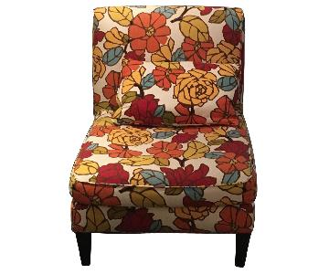 Pottery Barn Floral Slipper Chair w/ Pillow