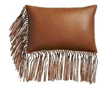 CB2 Leather Throw Pillow