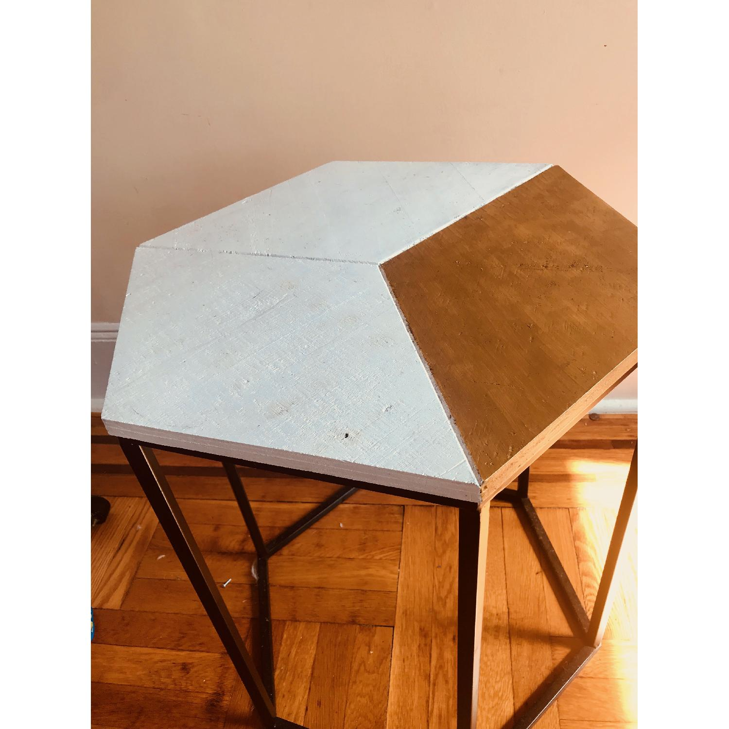 ... Hexagonal Mid Century Modern Side Table W/ Gold Accent 0 ...