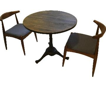 Pottery Barn Rae Rustic Wood Bistro Table w/ 2 Chairs