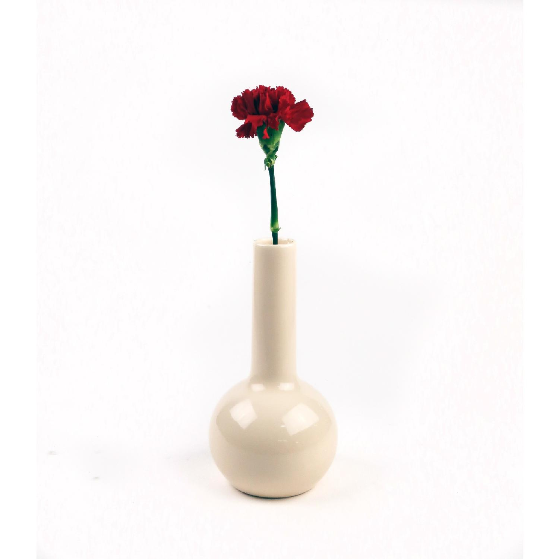 1980s Haeger Cream Fat Bottom Skinny Top Vase