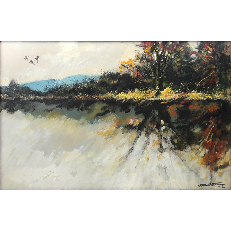 Large Mid-Century Impressionistic Oil Landscape Painting