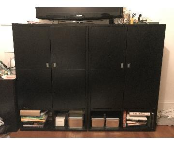 CB2 Black Storage Cabinet/Wardrobe