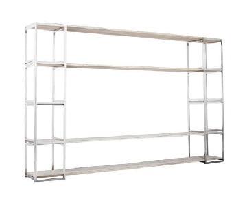 Solid Oak Bookshelf w/ Stainless Steel Frame