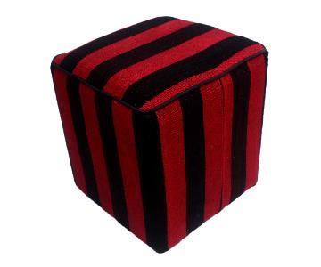 Arshs Dona Red/Black Kilim Upholstered Handmade Ottoman