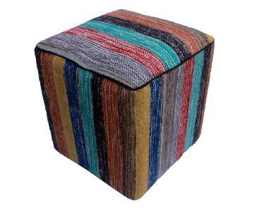 Arshs Donald Red/Green Kilim Upholstered Handmade Ottoman
