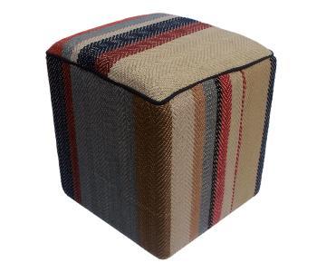 Arshs Dong Brown/Blue Kilim Upholstered Handmade Ottoman