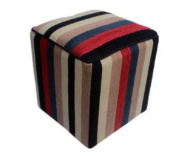 Arshs Donita Black/Ivory Kilim Upholstered Handmade Ottoman