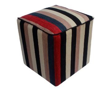Arshs Donn Black/Ivory Kilim Upholstered Handmade Ottoman
