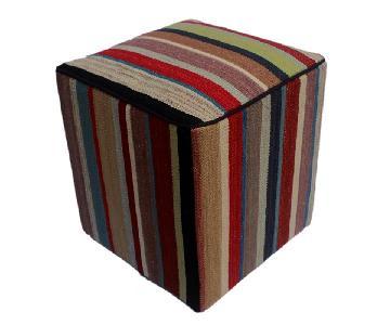Arshs Donna Red/Brown Kilim Upholstered Handmade Ottoman