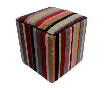Arshs Donnell Red/Brown Kilim Upholstered Handmade Ottoman