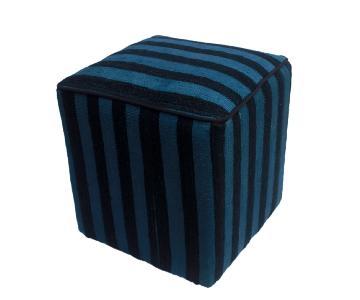 Arshs Donnetta Black/Blue Kilim Upholstered Handmade Ottoman