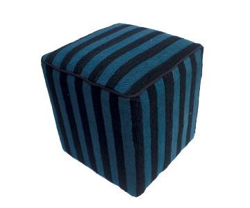 Arshs Donnette Black/Blue Kilim Upholstered Handmade Ottoman