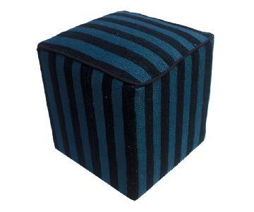 Arshs Donnie Black/Blue Kilim Upholstered Handmade Ottoman
