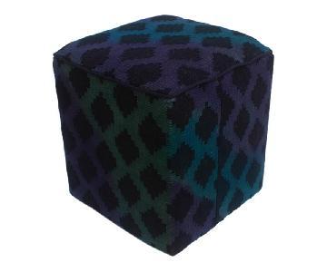 Arshs Donny Blue/Purple Kilim Upholstered Handmade Ottoman