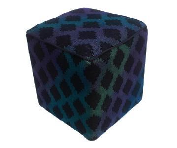 Arshs Donovan Blue/Purple Kilim Upholstered Handmade Ottoman