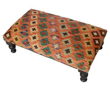 Arshs Donte Orange/Brown Handmade Kilim Upholstered Settee