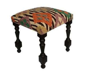 Arshs Dora Chocolate/Ivory Kilim Upholstered Ottoman