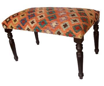 Arshs Dorathy Orange/Blue Handmade Kilim Upholstered Settee
