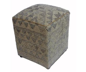 Arshs Dorene Tan/Gray Kilim Upholstered Handmade Ottoman