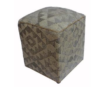 Arshs Doretha Tan/Gray Kilim Upholstered Handmade Ottoman