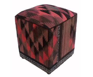Arshs Dorethea Pink/Black Kilim Upholstered Handmade Ottoman