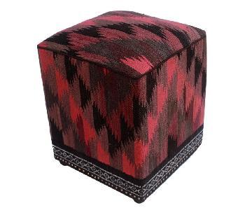 Arshs Doretta Pink/Black Kilim Upholstered Handmade Ottoman