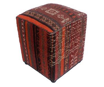 Arshs Dori Brown/Ivory Kilim Upholstered Handmade Ottoman