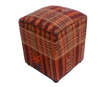 Arshs Doria Orange/Purple Kilim Upholstered Handmade Ottoman