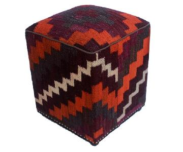 Arshs Dorian Purple/Orange Kilim Upholstered Ottoman