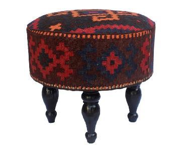 Arshs Dorian Chocolate/Gold Kilim Upholstered Ottoman