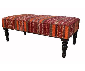 Arshs Dorie Orange/Purple Handmade Kilim Upholstered Settee