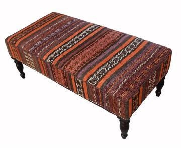 Arshs Dorine Orange/Gray Handmade Kilim Upholstered Settee