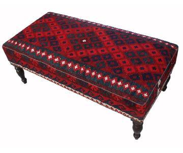 Arshs Doris Drk. Red/Red Handmade Kilim Upholstered Settee